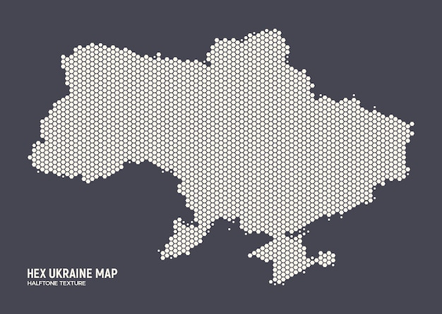 Sechseckige halbtonmuster-ukraine-karte in den retro-farben