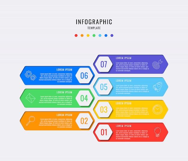 Sechseckige infografik-elemente mit sieben schritten, optionen, teilen oder prozessen mit textfeldern. vektordatenvisualisierung für workflow