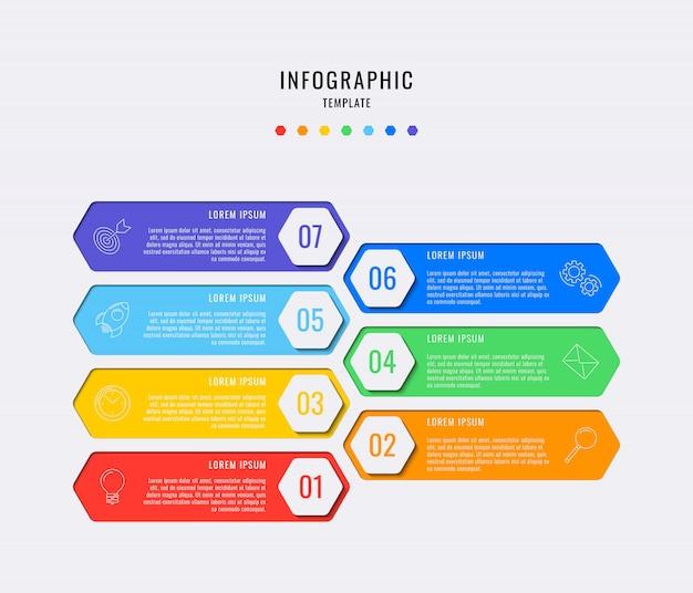 Sechseckige infografik-elemente mit sieben schritten, optionen, teilen oder prozessen mit textfeldern. workflow, diagramm