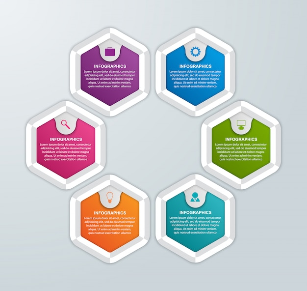Sechseckige optionen infografiken vorlage