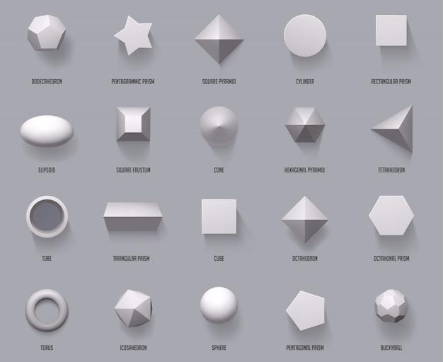 Sechseckige realistische formen. grundlegende geometrische formen, mathe 3d figur bildet würfel, zylinder und prisma formen draufsicht illustrationssatz. geometrie kugel und pyramide, form und würfel