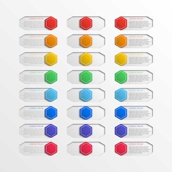 Sechseckige schaltflächen mit mehrfarbiger schalterschnittstelle und textfeldern