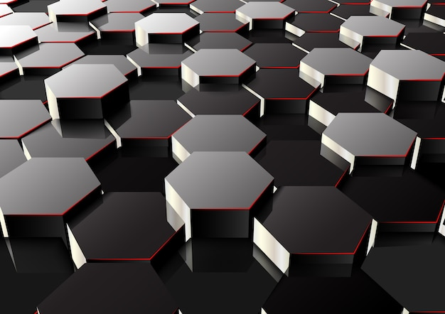 Sechseckiger abstrakter hintergrund der perspektive 3d
