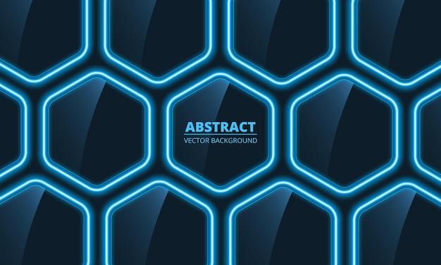 Sechseckiger abstrakter hintergrund des dunklen blauen glases mit blauen neonlichtern