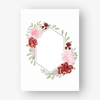 Sechseckiger blumenrahmen mit aquarellblumen rot und rosa