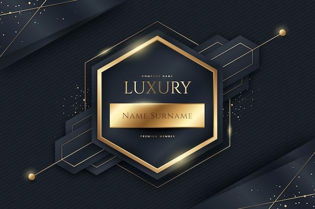 Sechseckiger goldener luxusrahmen mit farbverlauf
