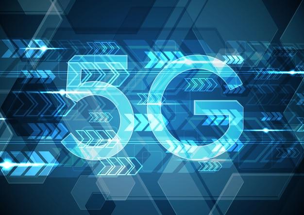 Sechseckiger hintergrund des abstrakten kreises der 5g-technologie