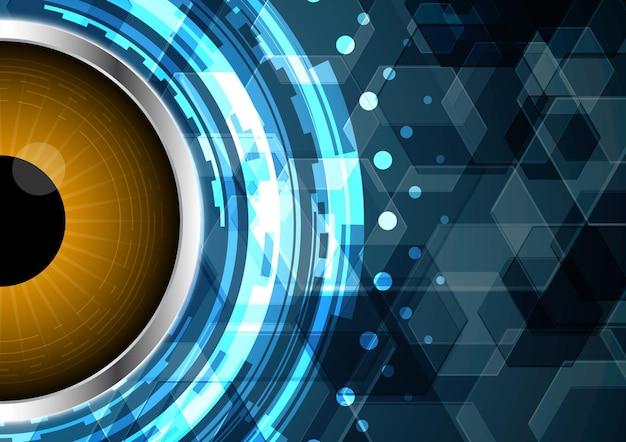 Sechseckiger hintergrund des technologie-abstrakten zukünftigen schaltungsaugenkreises