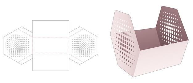 Sechseckiger lebensmittelbehälter aus karton mit gestanzter schablone mit schablonen und halbtonpunkten