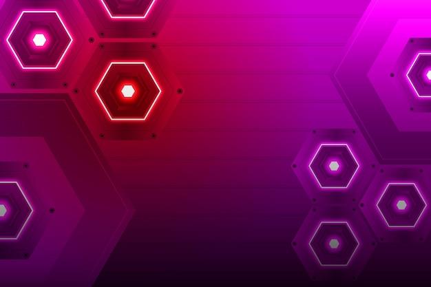 Sechseckiger neonhintergrund mit farbverlauf