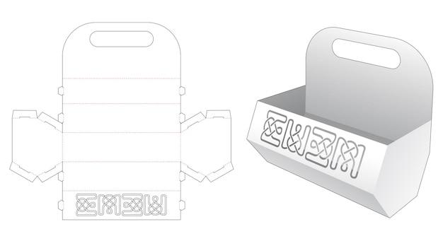 Sechseckiger snack-behälter mit schablonen-stanzschablone handhaben
