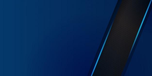 Sechseckiges abstraktes metall mit blauem licht für banner- oder präsentationsdesign