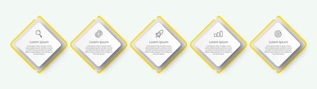 Sechseckiges design, infografik, geschäftsvorlage mit optionen.