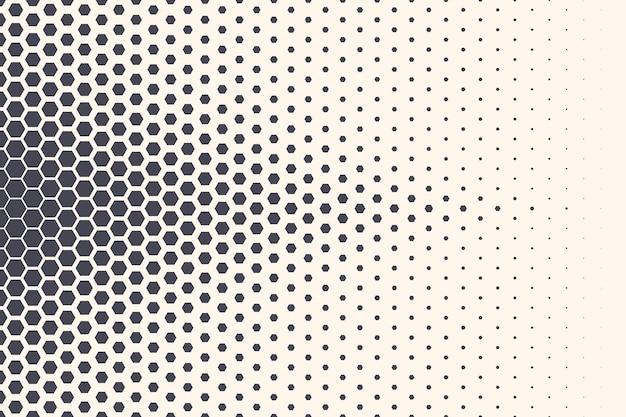 Sechseckiges halbtonmuster abstrakter geometrischer technologiehintergrund