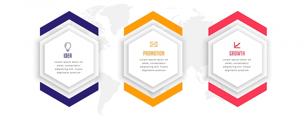 Sechseckiges infografik-schablonendesign in drei schritten