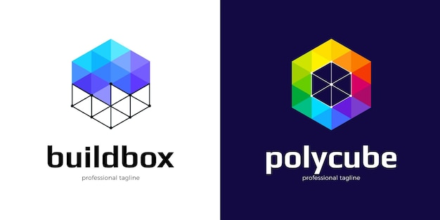 Sechseckiges low-poly-logo-design in zwei varianten