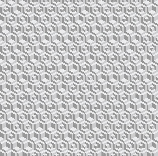 Sechseckiges nahtloses graustufenmuster. volumetrische sechseckelemente werden zufällig platziert.