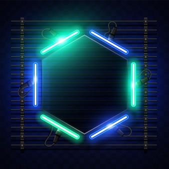 Sechseckiges neon-banner-design