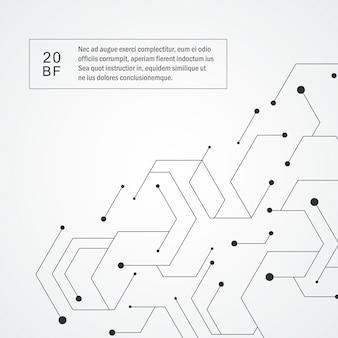 Sechseckiges technologiemuster. molekulare zusammensetzung verbinden