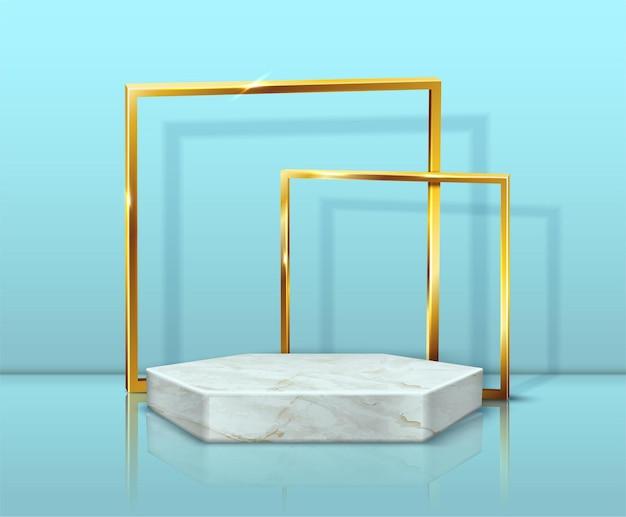 Sechseckständer aus marmor und goldene rahmen auf blau