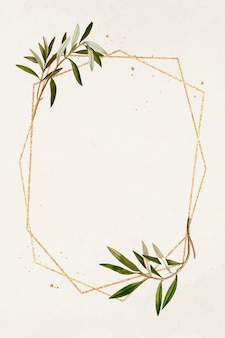 Sechskant-goldrahmen-olivenzweig-mustervektor