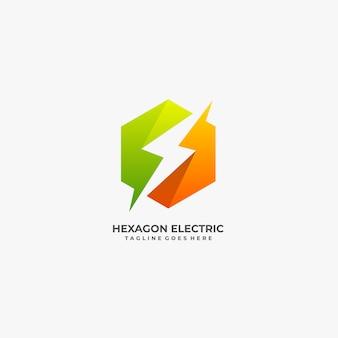 Sechskant mit elektrischem bolzen logo.