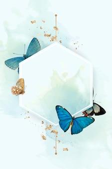 Sechskantrahmen mit blauem schmetterlingsmusterhintergrund
