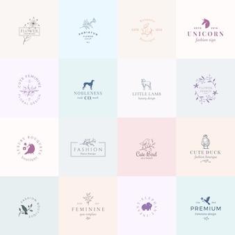 Sechzehn abstrakte weibliche zeichen oder logo-vorlagen gesetzt. retro blumenillustration mit klassischer typografie, vögeln, lamm, ente, hund, einhorn und elefant. embleme in premiumqualität.