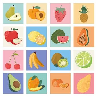 Sechzehn frische früchte
