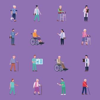 Sechzehn geriatrie-ärzte und ältere menschen