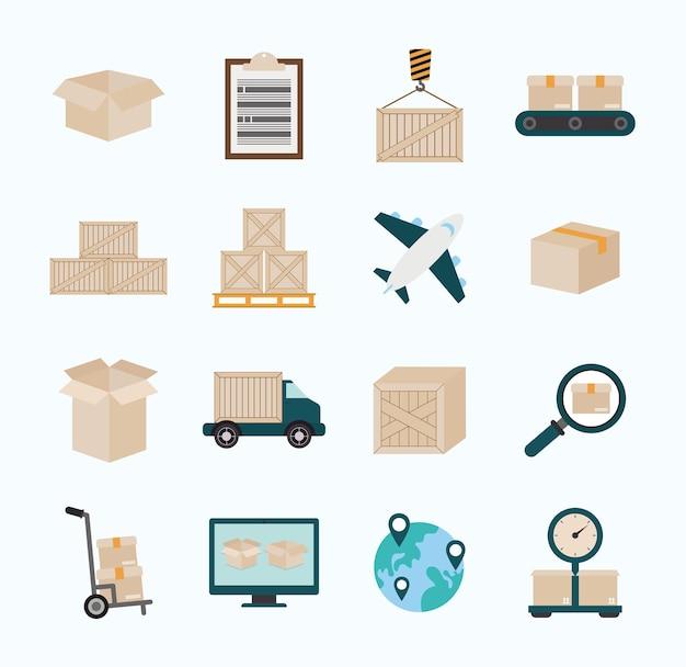 Sechzehn logistikartikel und icons gesetzt