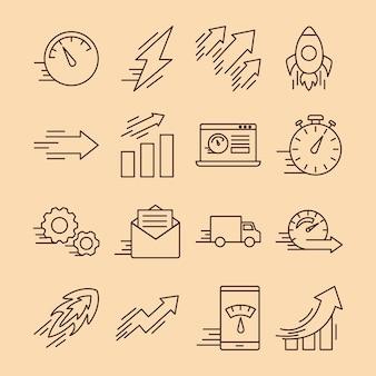 Sechzehn symbole im stil von geschwindigkeitslinien