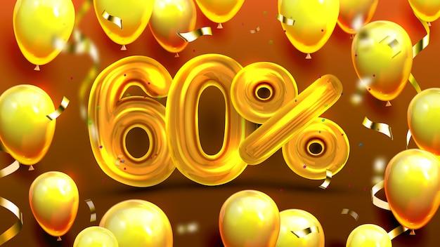 Sechzig prozent oder 60 marketing-verkaufsangebot