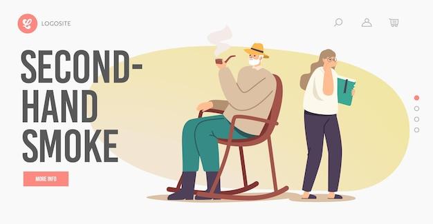 Second-hand-rauch-landing-page-vorlage. ältere männliche figur, die im rollsessel sitzt, genießen tabak, der enkelin ignoriert. mädchen, das großvater-rauchen hustet. cartoon-menschen-vektor-illustration