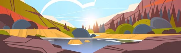 See vor der bergkette sonnenuntergang waldlandschaft schöne natur hintergrund horizontal