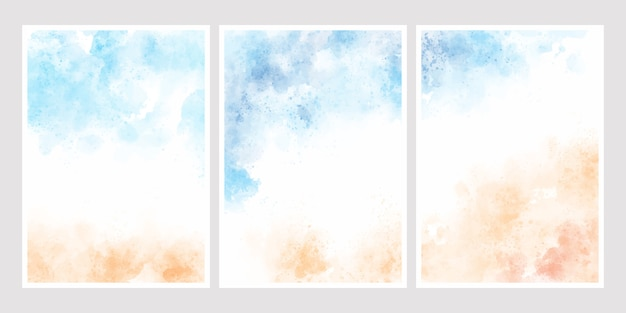 Seeblauer himmel und sand setzen aquarellhintergrund für hochzeitseinladungskarten-schablonensammlung 5x7 auf den strand