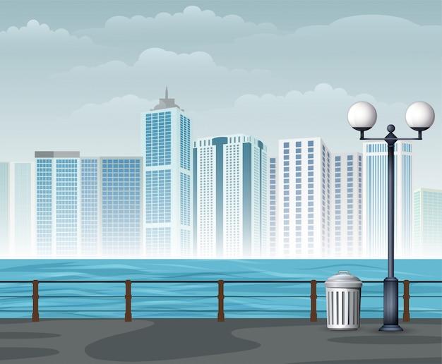 Seeblick mit städtischem hintergrund