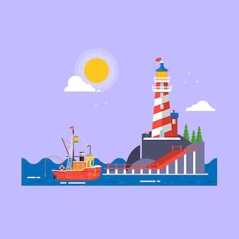 Seeboattransport des kühlen flachen entwurfsfischerbootes. leuchtturm auf felsensteininselkarikatur-vektorhintergrund.