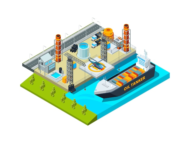 Seehafen isometrisch. frachtschiff öltanks küsten industriegebäude schiff und kraftstofffarmen 3d illustration