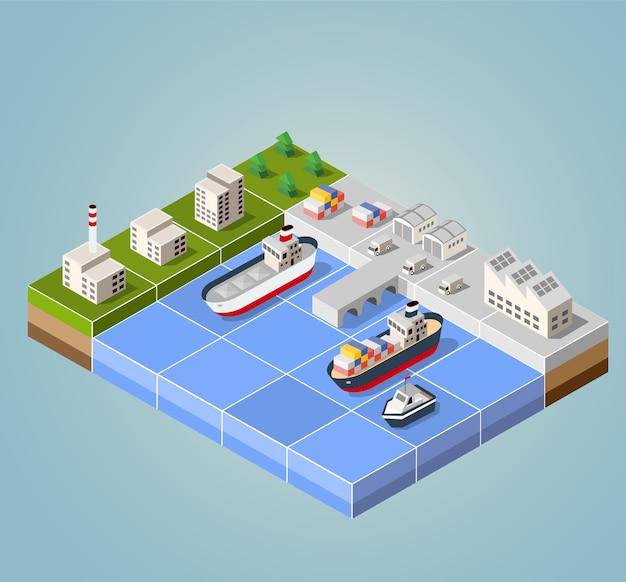 Seehafen mit der marina. frachtschiffe in perspektive. stellen sie design für die schiffe ein.