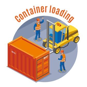 Seehafenfarbenes und isometrisches emblem mit containerladebeschreibung und runder abbildung