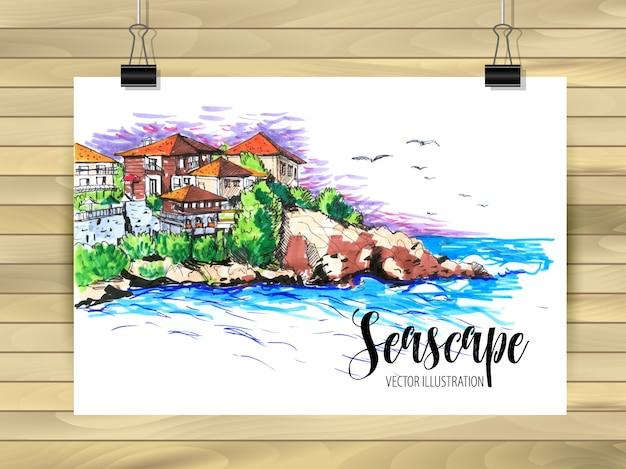 Seelandschaft illustration der postkarte