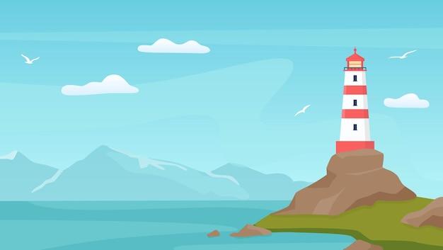 Seelandschaft mit leuchtfeuer. leuchtturm an der küste mit felsen. blauer himmel der karikatur mit möwen, ufer, meereswellen und bergvektorszene. illustration leuchtfeuerlandschaft, leuchtturm meeresküste