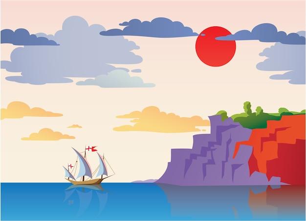 Seelandschaft mit schiff