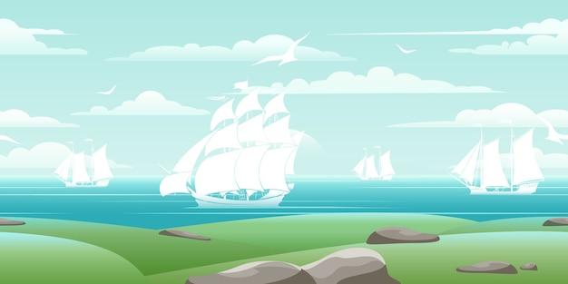 Seelandschaft mit schiffen. reiseboot, wassernatur, ozean und möwe, vektorillustration
