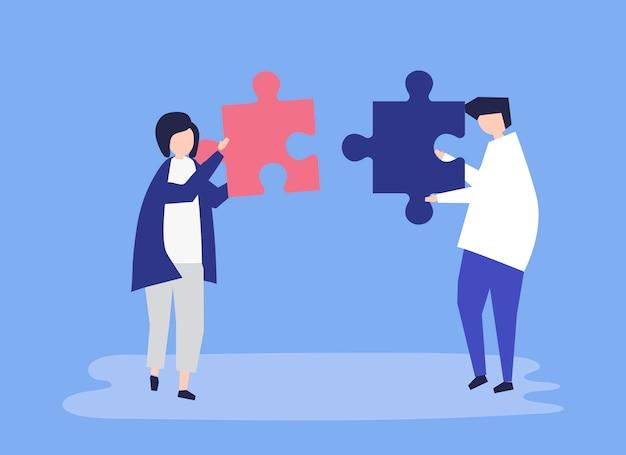 Seelenverwandte verbinden puzzleteile miteinander