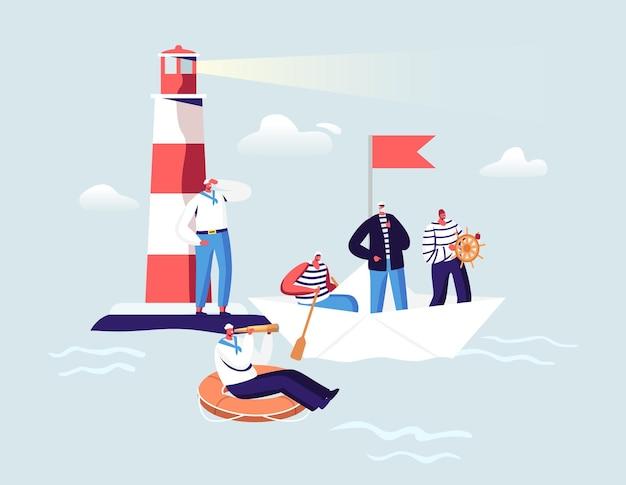 Seeleute-konzept. schiffsbesatzung männliche charaktere in uniform am leuchtfeuer im ozean. kapitän, matrosen in abgestreifter weste mit lenkrad und rettungsring auf papierboot. cartoon-menschen-vektor-illustration