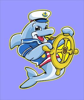 Seemann-delphin-maskottchen greifen schiffsrad