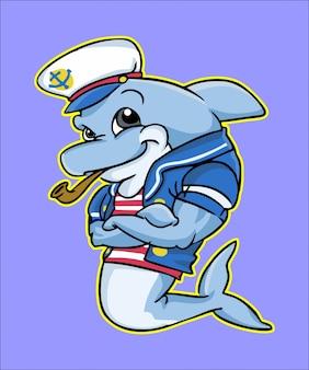 Seemann delphin maskottchen posiert