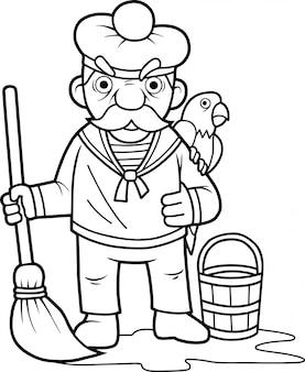 Seemann mit einem papagei